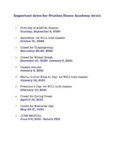 Important 20-21 ODA dates